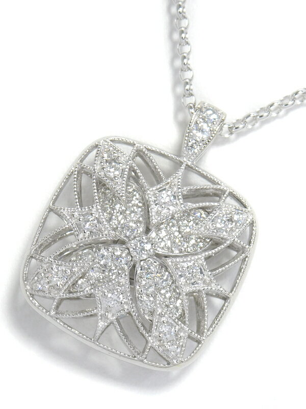 【MIKIMOTO】ミキモト『K18WG フラワー デザイン ネックレス ダイヤモンド0.48ct』1週間保証【中古】