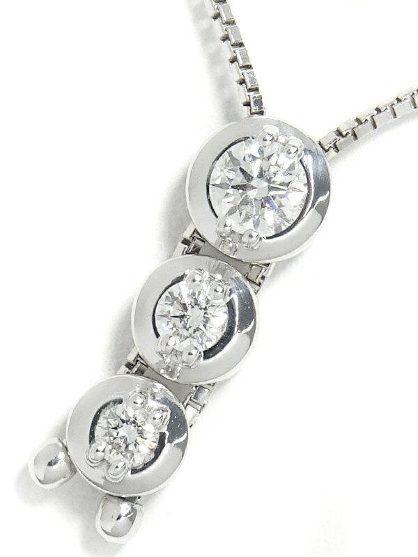 【TASAKI】【トリロジー】タサキ『K18WG 3Pダイヤモンド0.37ct ネックレス 』1週間保証【中古】