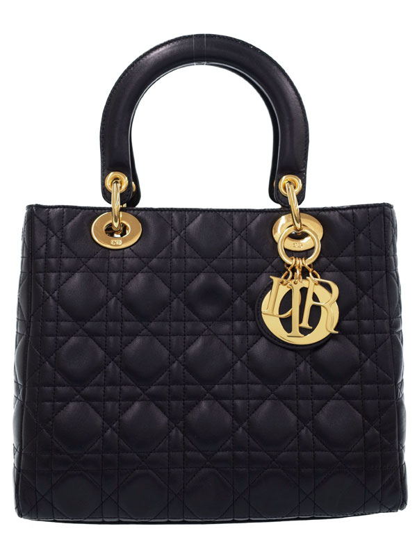 【Christian Dior】【カナージュ】クリスチャンディオール『レディディオール(M)』レディース ハンドバッグ 1週間保証【中古】