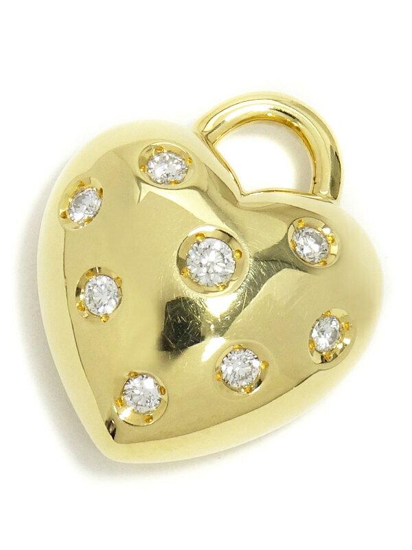 【MIKIMOTO】ミキモト『K18YG ハート ダイヤモンド0.23ct ペンダントトップ』1週間保証【中古】