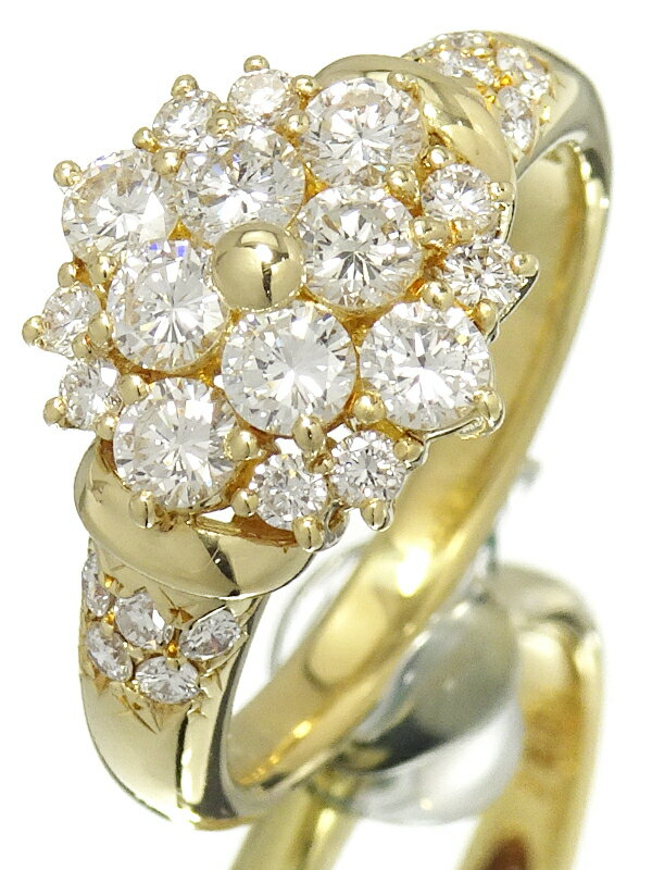 【TASAKI】【仕上済】タサキ『K18YG フラワーモチーフ ダイヤモンド0.91ct リング』11号 1週間保証【中古】