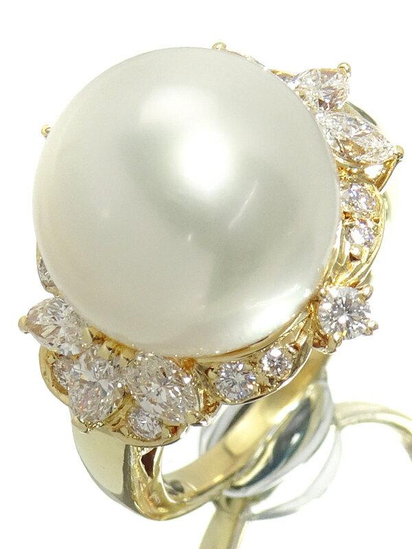 【MIKIMOTO】ミキモト『K18YG パ—ル12.7mm ダイヤモンド0.90ct リング』12号 1週間保証【中古】
