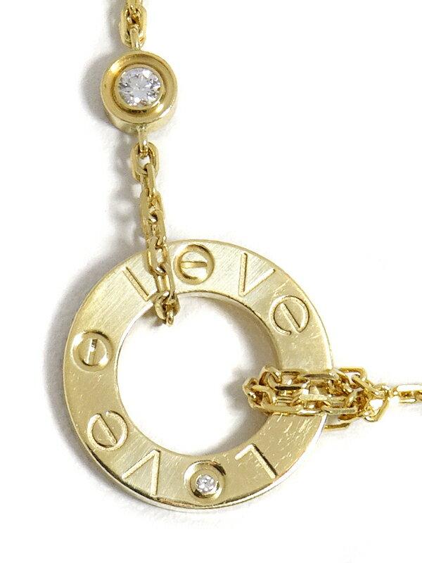 【Cartier】【サークル】カルティエ『K18YG ラブ ペンダント ネックレス 2Pダイヤモンド』1週間保証【中古】