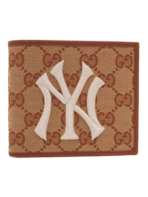 【GUCCI】【NYヤンキース】グッチ『GGキャンバス 二つ折り短財布』547785 メンズ 1週間保証【中古】