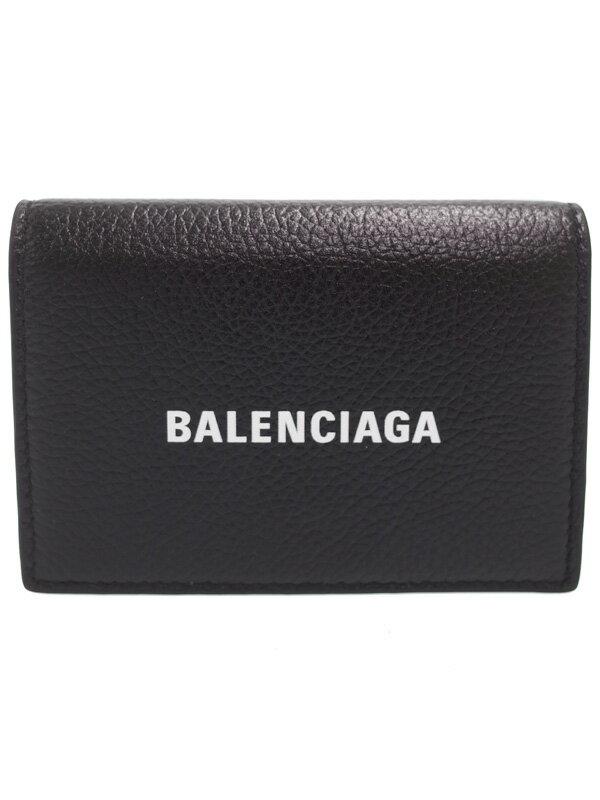 【BALENCIAGA】バレンシアガ『ロゴ ミニ ウォレット』594312 レディース 三つ折り短財布 1週間保証【中古】