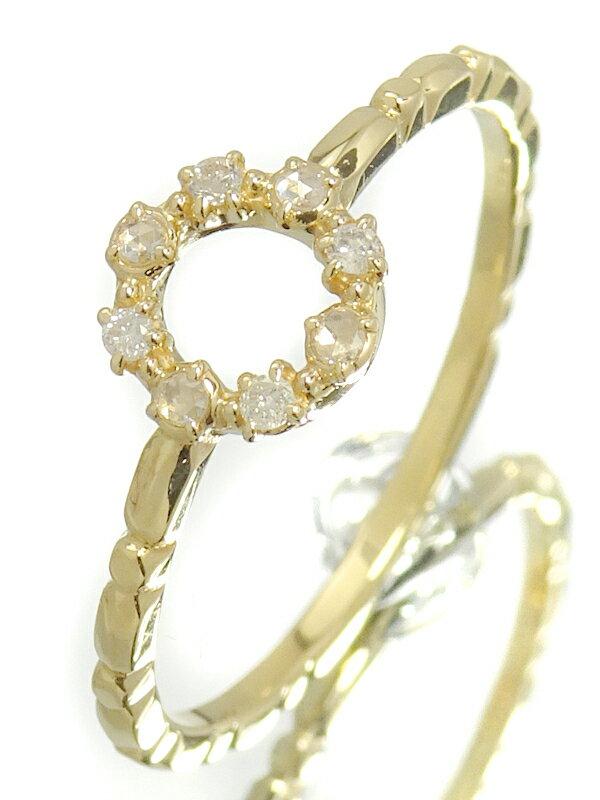 【agete】アガット『K18YG サークル リング ダイヤモンド0.05ct』11号 1週間保証【中古】