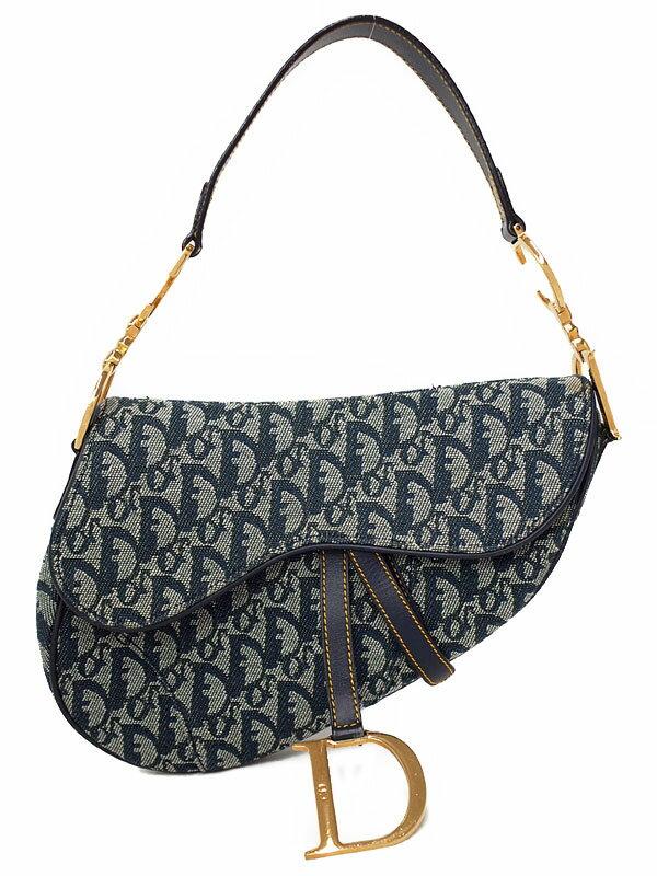【Christian Dior】クリスチャンディオール『トロッター柄 サドルバッグ』レディース セミショルダーバッグ 1週間保証【中古】