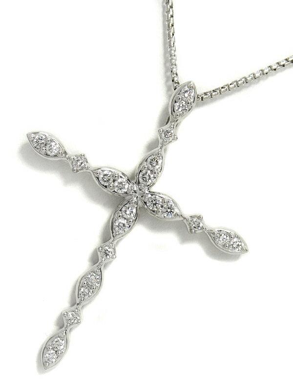 【TASAKI】タサキ『K18WG クロス ネックレス ダイヤモンド0.36ct』1週間保証【中古】