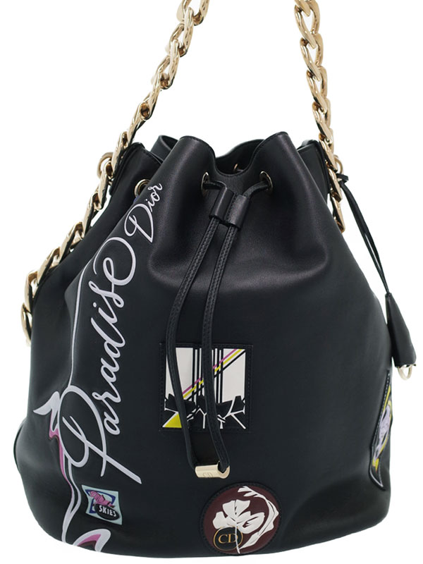 【Christian Dior】クリスチャンディオール『パラダイス 巾着型 チェーンショルダーバッグ』レディース 1週間保証【中古】