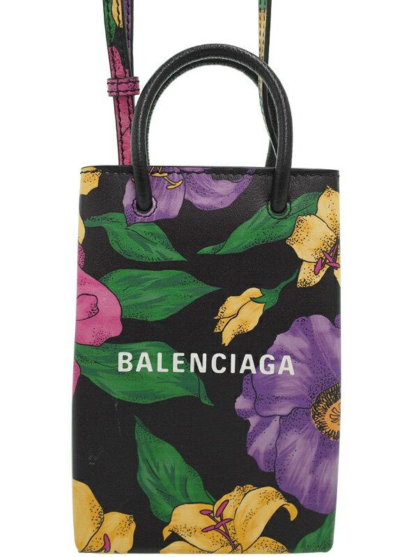 【BALENCIAGA】【フラワー】バレンシアガ『ショッピング フォンホルダーバッグ』593826 レディース ショルダーバッグ 1週間保証【中古】