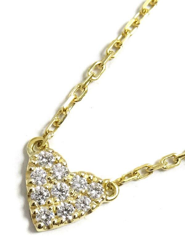【AHKAH】【vivian couture】アーカー『K18YG ヴィヴィアンクチュール ハートパヴェ ネックレス ダイヤモンド0.05ct』1週間保証【中古】