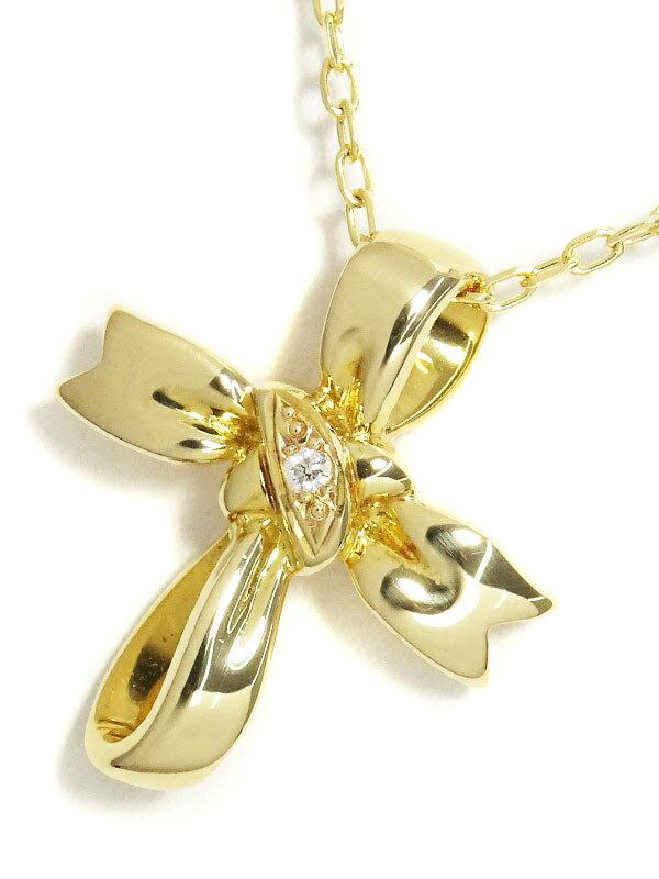 【MIKIMOTO】ミキモト『K18YG リボン ペンダント ネックレス ダイヤモンド0.01ct』1週間保証【中古】
