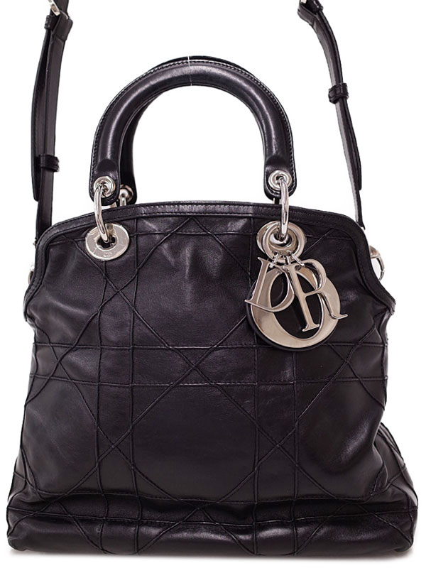 【Christian Dior】【カナージュ】クリスチャンディオール『グランヴィル 2WAYハンドバッグ』M1300PGCA レディース ショルダーバッグ 1週間保証【中古】
