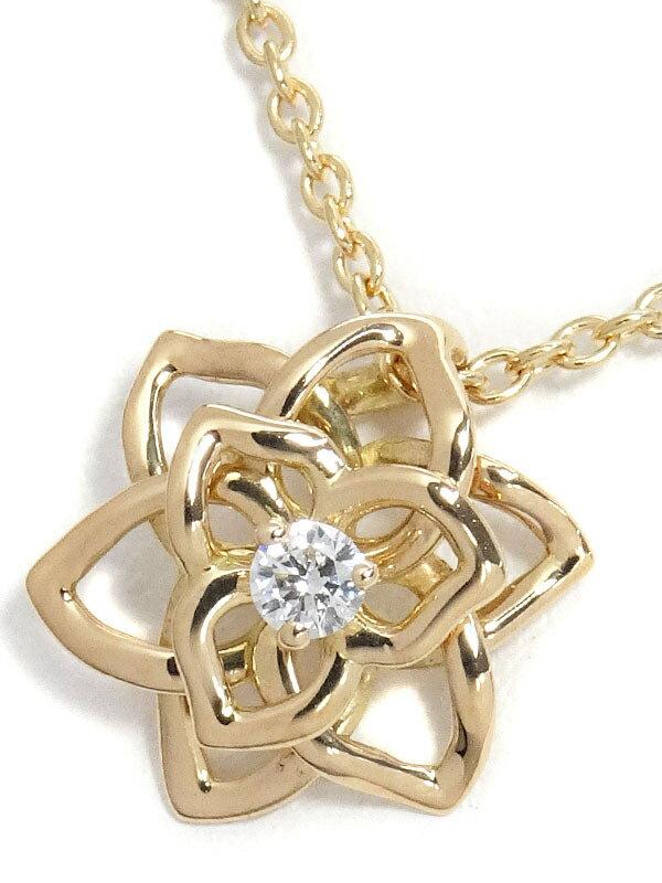 【PIAGET】【仕上済】ピアジェ『K18PG ローズ 1Pダイヤモンド ネックレス』1週間保証【中古】