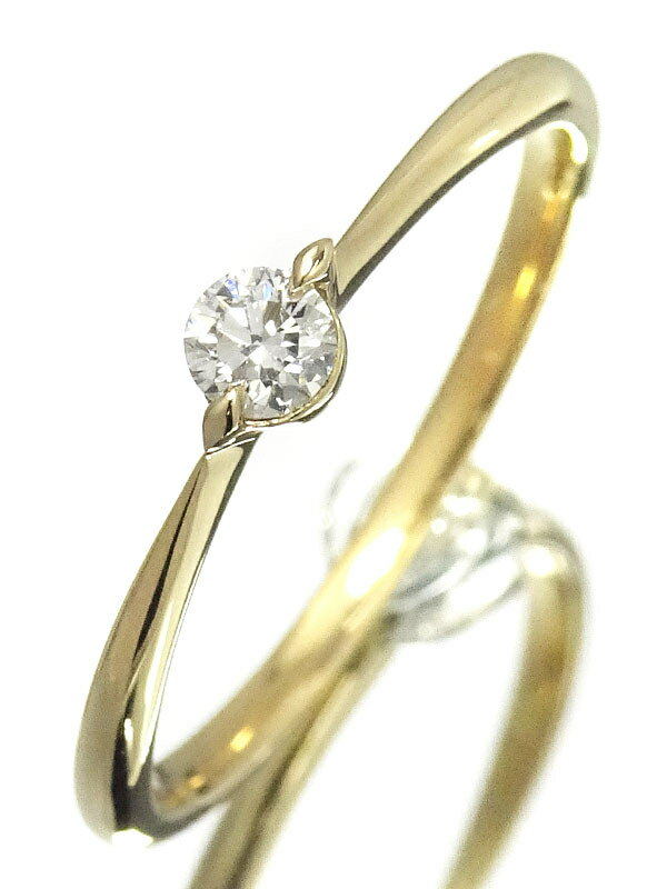【StarJewelry】スタージュエリー『K18YG 1Pダイヤモンド0.10ct リング』12号 1週間保証【中古】