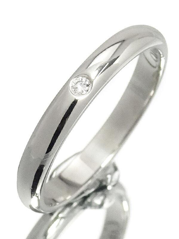 【Cartier】【1895】カルティエ『PT950 クラシック ウェディング リング 1Pダイヤモンド』6号 1週間保証【中古】