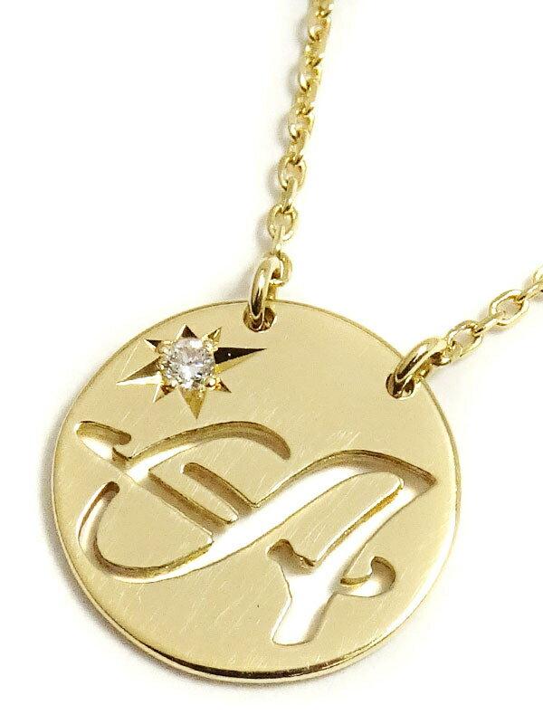 """【Star Jewelry】スタージュエリー『K18YG イニシャル """"A"""" プレート ネックレス 1Pダイヤモンド0.01ct』1週間保証【中古】"""