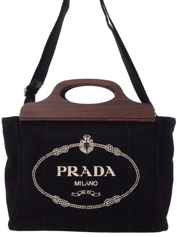 【PRADA】プラダ『カナパ ウッド調ハンドル ファブリック 2WAYハンドバッグ』レディース 2WAYバッグ 1週間保証【中古】