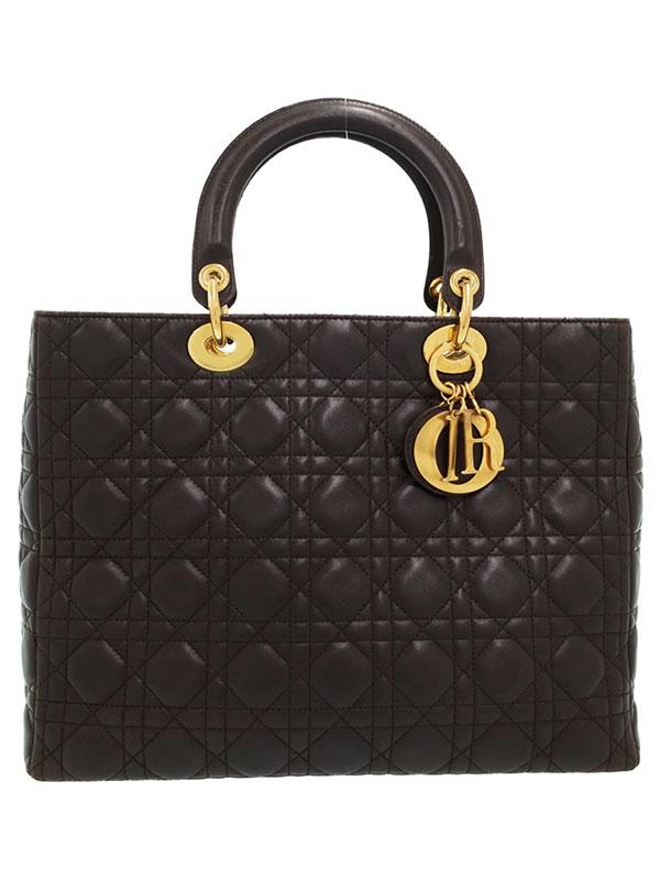 【Christian Dior】【カナージュ】クリスチャンディオール『レディディオール(L)』レディース ハンドバッグ 1週間保証【中古】