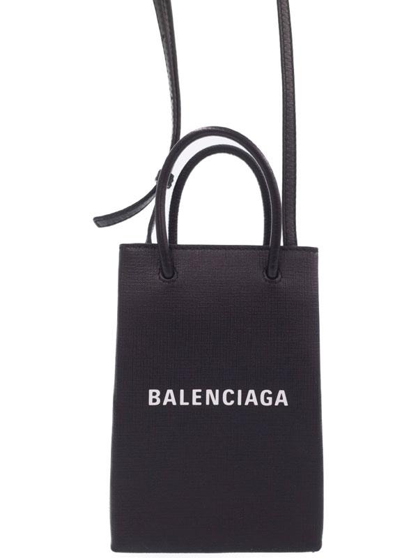 【BALENCIAGA】バレンシアガ『ショッピング フォンホルダーバッグ』593826 レディース ショルダーバッグ 1週間保証【中古】