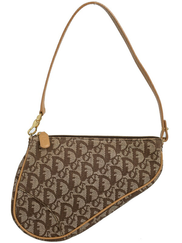【Christian Dior】クリスチャンディオール『トロッター柄 サドルポーチ』レディース ハンドバッグ 1週間保証【中古】