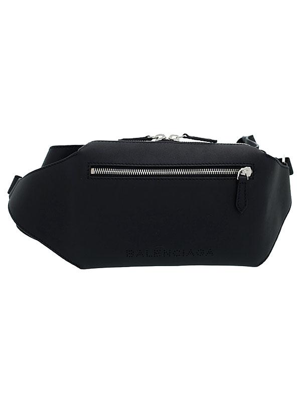【BALENCIAGA】バレンシアガ『パンチングロゴ レザー ベルトバッグ』433625 メンズ ボディバッグ 1週間保証【中古】