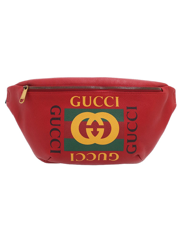 【GUCCI】グッチ『グッチ プリント レザー ベルトバッグ』530412 メンズ ボディバッグ 1週間保証【中古】