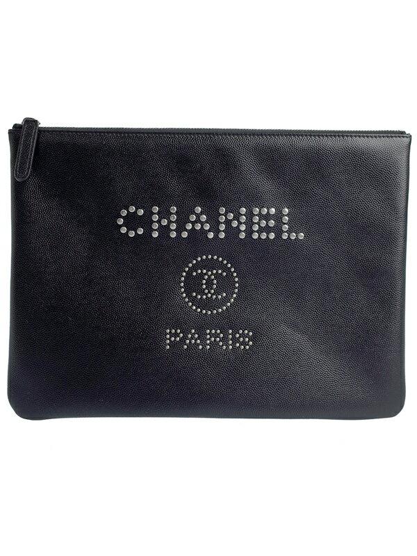 【CHANEL】【シルバー金具】シャネル『ド—ヴィル クラッチバッグ』A80802 レディース 1週間保証【中古】