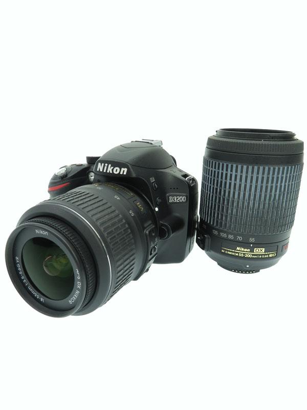【Nikon】ニコン『D3200 200mm ダブルズームキット ブラック』D3200WZ200BK 2012年 ニコンFマウント デジタル一眼レフカメラ 1週間保証【中古】