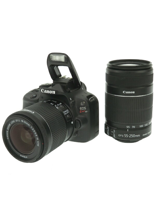 【Canon】キヤノン『EOS Kiss X7ダブルズームキット』KISSX7-WKIT 1800万画素 EF-S フルHD動画 SDXC デジタル一眼レフカメラ 1週間保証【中古】