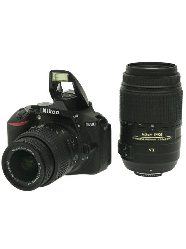 【Nikon】ニコン『D5500ダブルズームキット ブラック』2416万画素 DXフォーマット フルHD動画 SDXC デジタル一眼レフカメラ 1週間保証【中古】