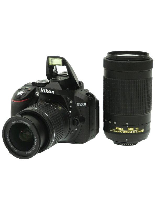 【Nikon】ニコン『D5300 AF-P ダブルズームキット』2416万画素 DXフォーマット フルHD動画 SDXC デジタル一眼レフカメラ 1週間保証【中古】
