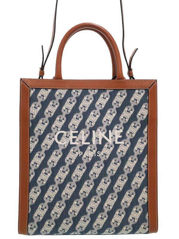 【CELINE】【新ロゴ】セリーヌ『トリオンフ スモール バーティカル カバ トートバッグ』192082 レディース 2WAYバッグ 1週間保証【中古】