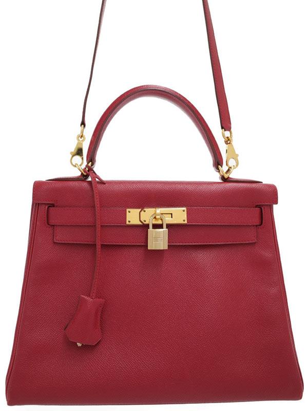 【HERMES】【ゴールド金具】エルメス『ケリー28 内縫い』□E刻印 2001年製 レディース 2WAYバッグ 1週間保証【中古】