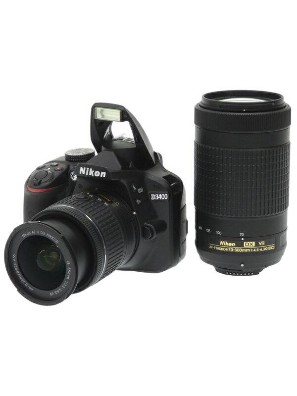 【Nikon】ニコン『D3400ダブルズームキット ブラック』2416万画素 DXフォーマット フルHD動画 SDXC デジタル一眼レフカメラ 1週間保証【中古】