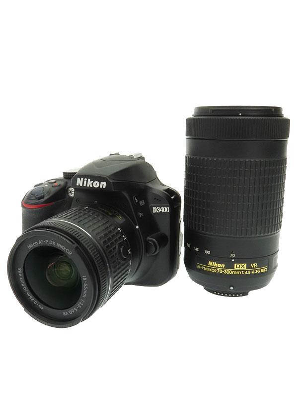 【Nikon】ニコン『D3400ダブルズームキット ブラック』2416万画素 3インチ DXフォーマット フルHD動画 SDXC デジタル一眼レフカメラ 1週間保証【中古】