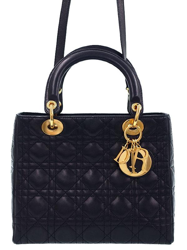 【Christian Dior】【カナージュ】クリスチャンディオール『レディディオール(M)』レディース 2WAYバッグ 1週間保証【中古】