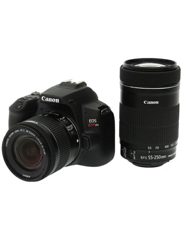 【Canon】キヤノン『EOS Kiss X10 ブラック ダブルズームキット』EF-S 2410万画素 SDXC 4K動画 デジタル一眼レフカメラ 1週間保証【中古】