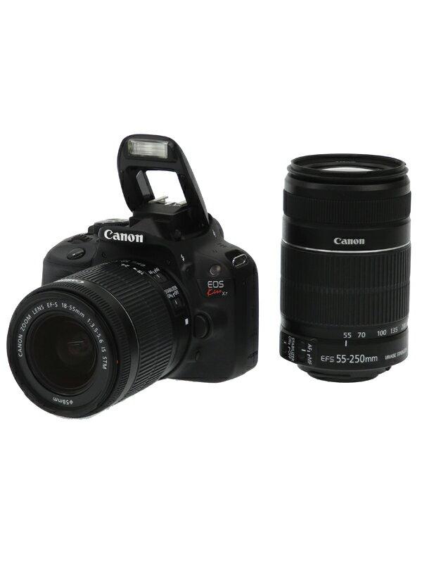 【Canon】キヤノン『EOS Kiss X7 ダブルズームキット』KISSX7-WKIT 1800万画素 EF-S フルHD動画 SDXC デジタル一眼レフカメラ 1週間保証【中古】