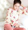 冬用 もこもこ フランネル パジャマ 上下セット部屋着 パジャマ セットアップ ルームウェア寝巻き 長袖レディースナイトウエア プレゼント 通気性着心地いい ゆったり パーカー+パンツ フラノ