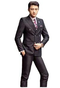 大人気新品!メンズファッション 紳士スーツセット メンズスーツ 2点セット スリムスーツビジネススーツ セットアップ フォーマルスーツ リクルートスーツ結婚式 長袖 忘年会司会者 パーティー 卒業式スーツ エリート細身 黒ブラック ダブルブレスト