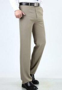 ビジネスカジュアル 紳士 スリム メンズスーツパンツ/ロングパンツ/長ズボン通勤パンツ/ スラックス/ノーアイロン長ズボンスリム型薄型タイプ ストレートスタイル 中年正装