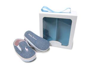 出産祝いに最適♪ギフトBOX入りポロラルフローレンのベビー靴♪ POLO RALPHLAUREN/ポロ ラルフローレンBAL HARBOUR REPEAT バルハーバー リピート RL100226 ライトブルー