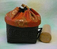 巾着籠入り野点用お茶道具セット(巾着柄:東寺裂)