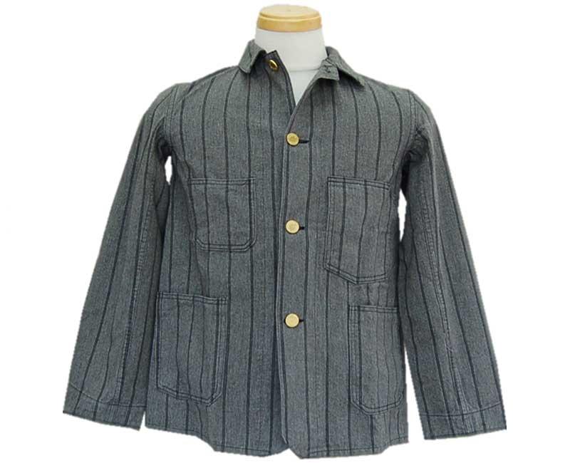 トップス, カジュアルシャツ HELLERS CAFE HELLERS CAFE1910s Gray-Navy Stripe Sack Jacket OW smtb-kkb