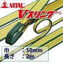 バイタル工業 SD型Vスリング 50mm(巾) 2m(長さ) 最大荷重2.0tonSD50-2 JIS4等級 両端アイ形 ナイロンスリング