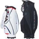 【月間優良ショップ受賞】 トミーヒルフィガー ゴルフ キャディバッグ メンズ 9.5型 約4.5kg 9分割 ブランド レア ホワイト ブラック 白 黒 キャディバック THMG1FC2 TOMMY・・・
