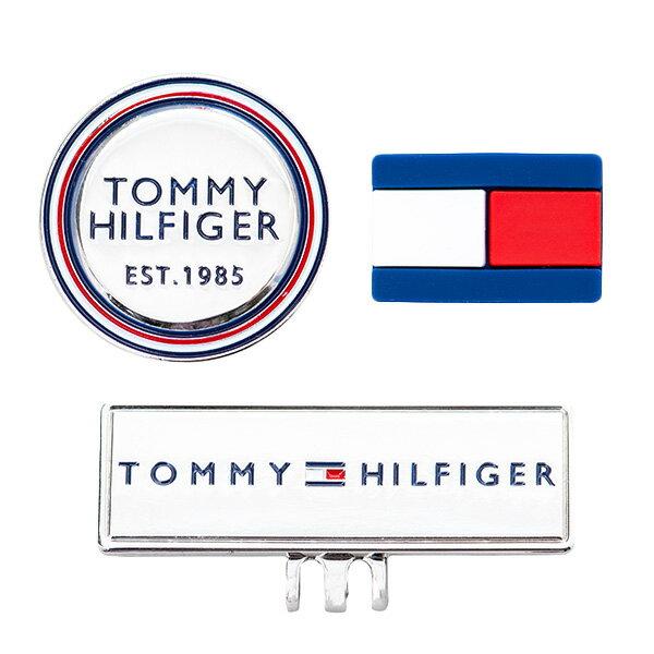 【月間優良ショップ受賞】 トミー ヒルフィガー ゴルフ マーカー メンズ レディース セットマーカー 金属 シリコン 2個 台座 四角 丸 ロゴ ギフト プレゼント トリコロール 白 ホワイト 紺 ネイビー 赤 レッド THMG0FMX