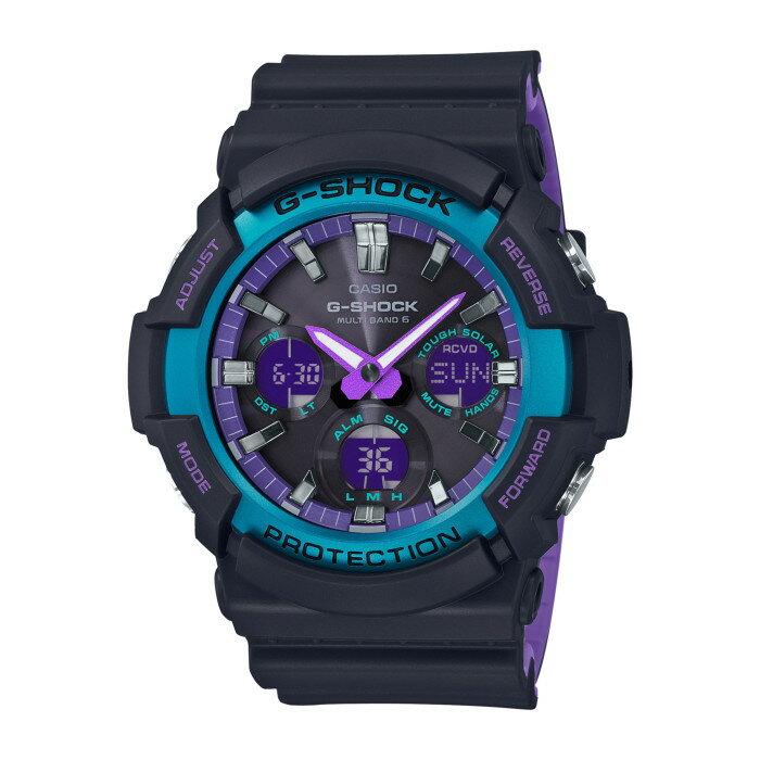 【!】カシオ GAW-100BL-1AJF メンズ腕時計 Gショック CASIO G-SHOCK 男性 90年代 ストリート カジュアル スポーツテイスト ブラック ネオン パープル ブルー