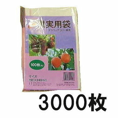 果実掛袋 果実袋 (中) 150×240mm デラウェア用 100枚入×30袋 徳用3000枚 針金付き 中部農材 CNK